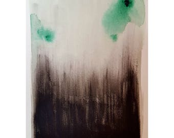 Original abstract painting modern contempory art expressionist acrylic watercolour A5