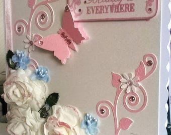 Handmade Fantasy Flowers and Butterfly Card