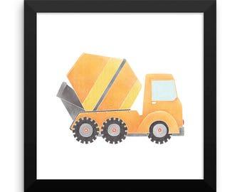 Construction Truck Framed Nursery Print – Orange Cement Mixer
