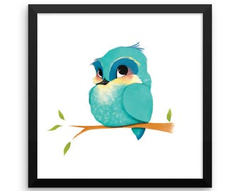 Animal Framed Nursery Print – Bluebird