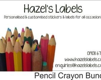Customised rectangular business label / sticker - Pencil Crayon Bundle