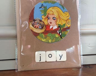 Handmade upcycled card using images from vintage Children's books