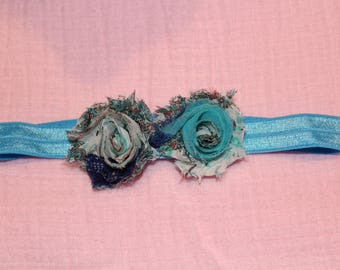 Two Blue Flower Headband