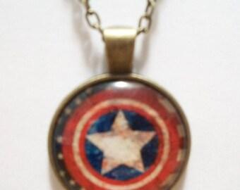 Captain America Shield Glass Cabochon Pendant Necklace SC540