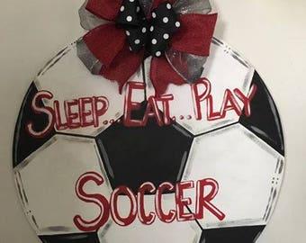 Wooden Door Hanger - Soccer Ball