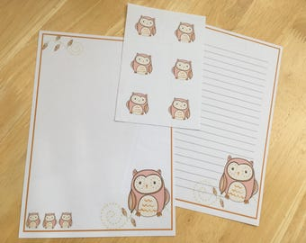 Pink cute owl letter writing paper set and 6 envelope seals
