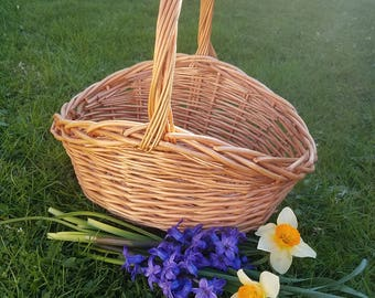 Vintage French country farmhouse flower gathering basket
