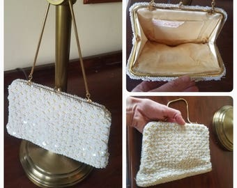 Vintage clutch purse // ornate beaded purse // bridal purse // vintage wedding