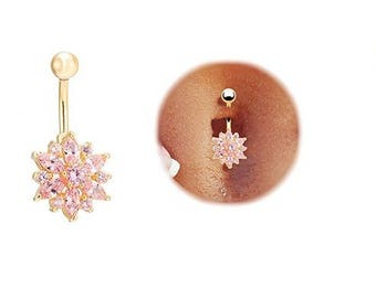 Belly Button Ring Pink Flower