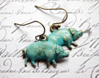 Verdigris Patina Brass Pig Earrings - Pig Earrings - Small Pig Charm Earrings - Turquoise Pig Earrings