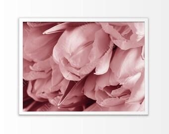 Pink flowers print art Tulips flowers wall art Above bed print art Tulips printables art Tulips print art Photography tulips wall art print