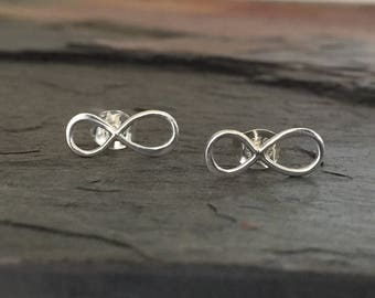 Infinity Post Earrings, Sterling Silver Infinity, Silver Stud Earrings, 5mm x 13mm, EWRS004