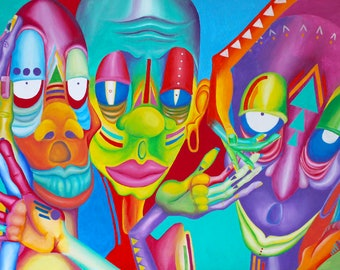 Psychedelic Colorful Aliens Abstract Surreal Matte Art Print