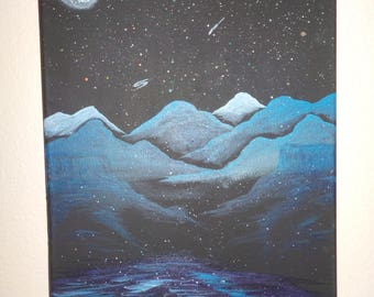 """Original painting """"Blue Space Mountains"""""""