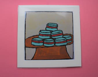 Blue Macarons, Bold, Colourful, Design, Print