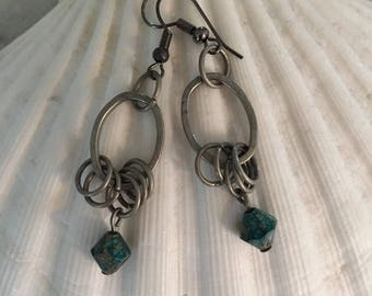 Silver chain link earrings with turquoise beaded accent