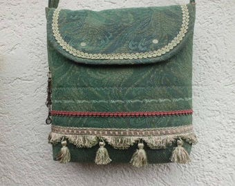 Shoulder bag ~ Pine Green with tassels