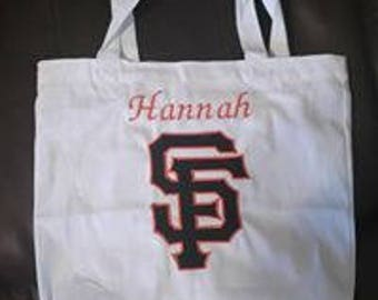 Embroidered and Personalized Giants tote bag