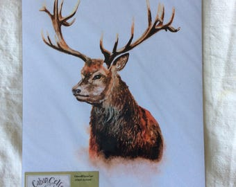 A4 print of original watercolour painting of a stag