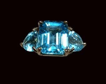 Clyde Duneier 14K Gold Blue Topaz Ring Size 6.0