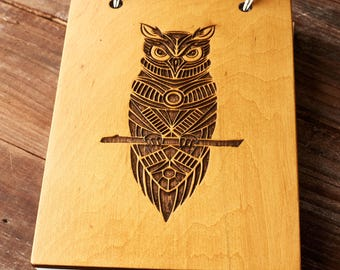 Owl wooden notebook