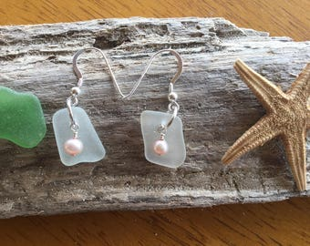 Authentic Sea Glass, Sterling Silver, Pink Freshwater Pearls, Earrings.