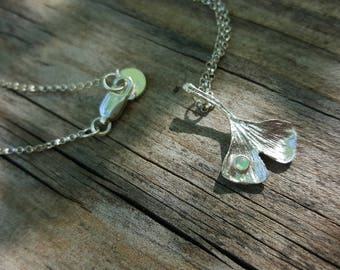 Ginko Leaf Necklace Pendant with Tiny Opal Cabochon in Bezel Necklace, Nature, Earthy, Botanical, Simple, Rollo Chain, 925