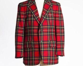 Royal Stewart Mens Suit Jacket, Scottish Highland Jacket, Vintage Suit Jacket (Expedited Shipping)