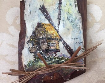 The mill: oil painting on birch bark and wooden base, from Ukraine