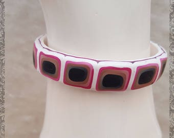 Lovely 1.5cm Tile effect Cuff Bracelet with Silver plate fixings. White, Pink Ocre and Black.