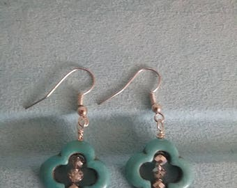 Created turquoise Earrings AB beads Silver wires