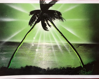 nature painting poster a3 spray paint art wall decoration beach palm trees