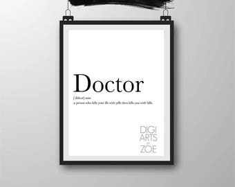Printable Doctor Funny Definition Wall Art