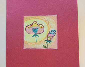 Pastel flowers, hand made card.