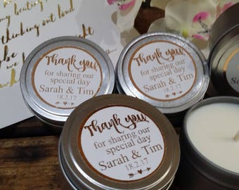 Customised 20 foil Large 4oz candle wedding favour, personalised wedding bonbonniere, custom soy candle, thank you favour, made in Australia