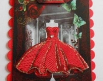 Pack 2 Red 1950 Dress embellishment toppers for cards and crafts