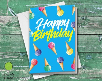 Happy Birthday Ice Cream Greeting Card - Birthday, Friend, Family, Cool, Peabody Studio Card