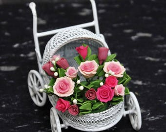 Dollhouse Miniature Handmade Clay Flower Arrangement in a Retro Vintage Iron Wire Flower Stand. Premium Quality Beautiful Flower Design.