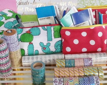 Journal Starter Pack - Cactus or Polka Dots Pencil Case/Pouch and choice of 2 Accessories - Leuchtturm1917 Pen Loop, LePen, Staedtler, Washi