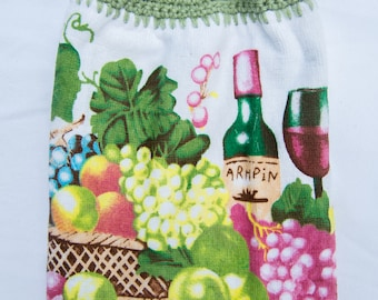Fruit & Wine Kitchen Towel - Crochet Top