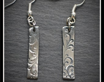Leaf Engraved Earrings - Silver Precious Metal Clay (PMC), Handmade, Earrings - (Product Code: ACM043-17)
