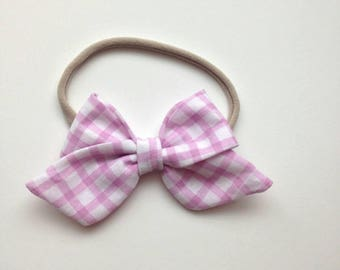 Pink checkered gingham cotton fabric sailor bow baby headband nylon headband one size
