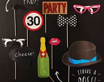 30th Birthday Photo Booth Props, Photo Booth Props