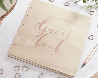 Wooden Wedding Guest Book, Party Guest Book, Wooden with Rose Gold Print, Baby Shower Guest Book