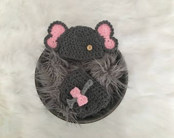 Girl Elephant Hat, Elephant Diaper Cover & Hat, Newborn Elephant Hat, Crochet Baby Elephant Hat, Elephant Photography Prop,  Baby Girl Hat