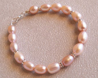 Pink Freshwater Rice Pearl and Crystallized Rondelle Bracelet, Handmade Jewelry, Beaded Jewelry, Pearl Jewelry, Pearl Bracelet, Pink Pearl