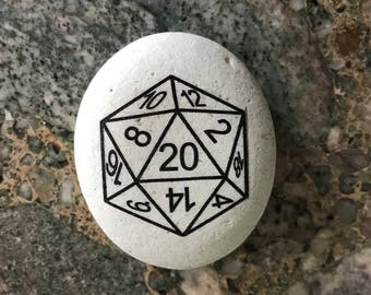 "Natural, Handmade Printed ""Dungeons and Dragons D20 Dice"" Stone. Unique Stone Art Gift."