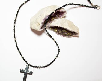 Necklace with cross in hematite black glass beads