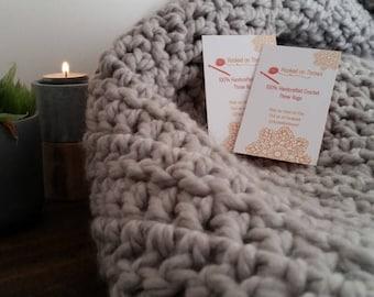 100% Handcrafted Crochet Throw Rug Dove Grey