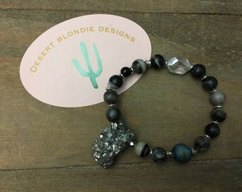 One of a Kind Druzy and Crystal Bracelet